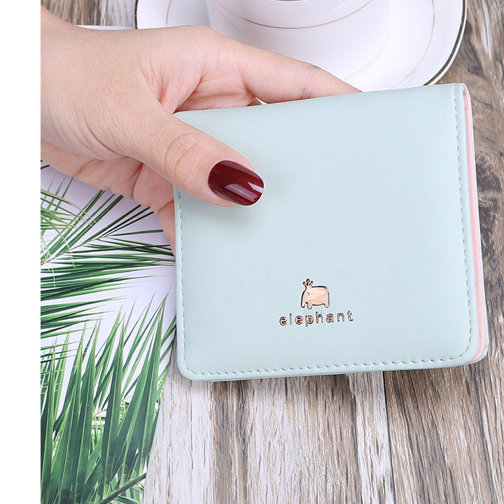 Literature and art change bag buckle hold fashion purse woman lovely solid color two fold double deck small square bag short style new