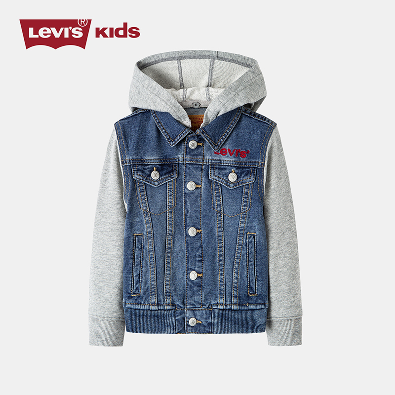 Levis Levis childrens clothing spring 2020 new infant and middle school childrens fake two-piece splicing knitted denim jacket