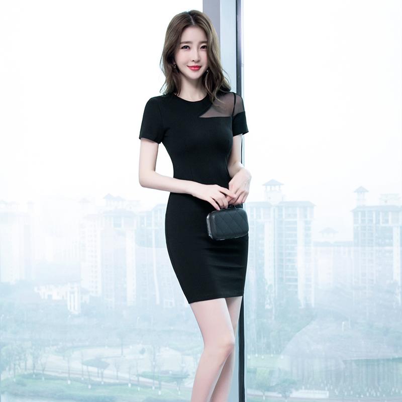 2019夏季新款气质性感女装修身显瘦黑色紧身包臀裙小个子连衣裙