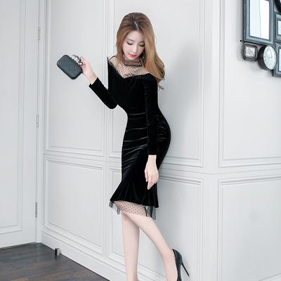 裙子女秋冬新款金丝绒性感名媛气质平时可穿宴会小晚礼服连衣裙