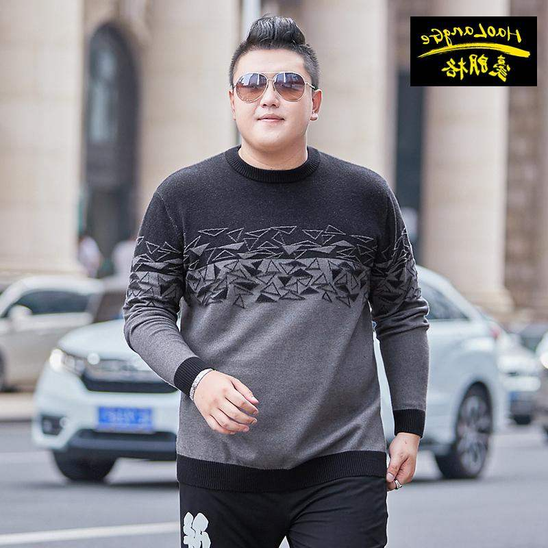 Top grade brand fat mens wear plus plus plus size Pullover Sweater fat man oversize sweater middle aged crew neck