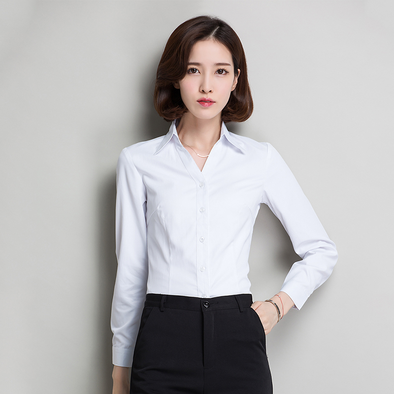V-neck shirt womens new professional long sleeve formal work clothes in spring and summer 2020 white ol short sleeve Slim Fit Shirt