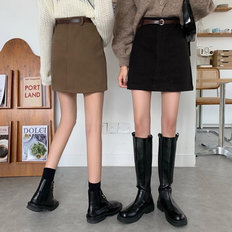 タオバオ仕入れ代行-ibuy99 短裙 毛呢半身裙女裙子夏新款2021新款高腰包臀半裙a字短裙夏天配毛衣