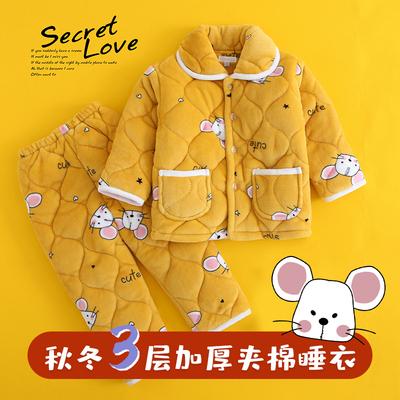 儿童睡衣女加厚法兰绒男童宝宝珊瑚绒套装女童夹棉家居服秋冬季