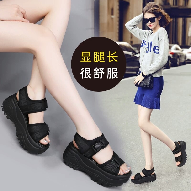 Womens earth sandals high heeled shoes large size leisure original night breeze beach buckle with open toe anti slip retro pine cake thick bottom temperament