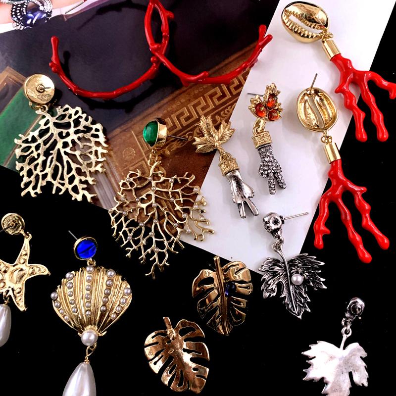 Vintage jewelry imported antique Earrings ocean coral leaves starfish enamel enamel earrings