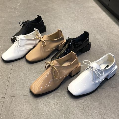 韩国东大门女鞋2018春新款方头欧美漆皮系带英伦风小皮鞋粗跟单鞋
