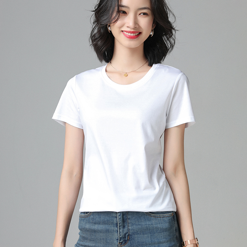 Pure cotton short sleeve womens Korean slim versatile round neck T-shirt 2021 spring and summer pure color top