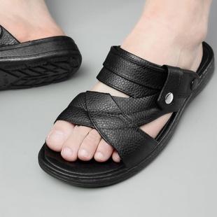夏季防滑拖鞋休闲户外沙滩防滑软底耐磨透气外穿一脚蹬男士凉拖鞋