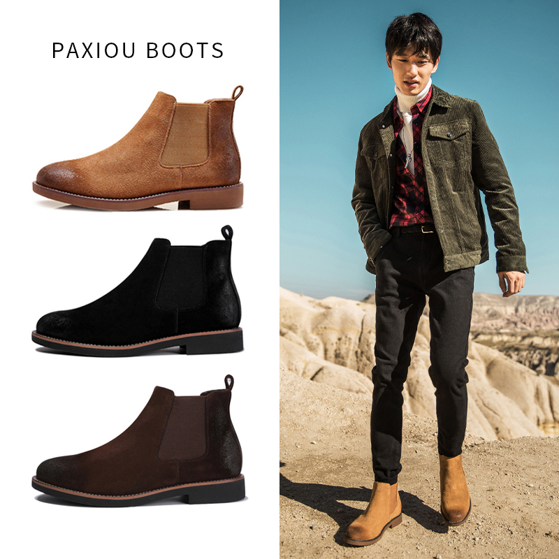 Chelsea Boots Mens British style autumn and winter high top Martin boots mens leather medium top plush short boots fashion shoes