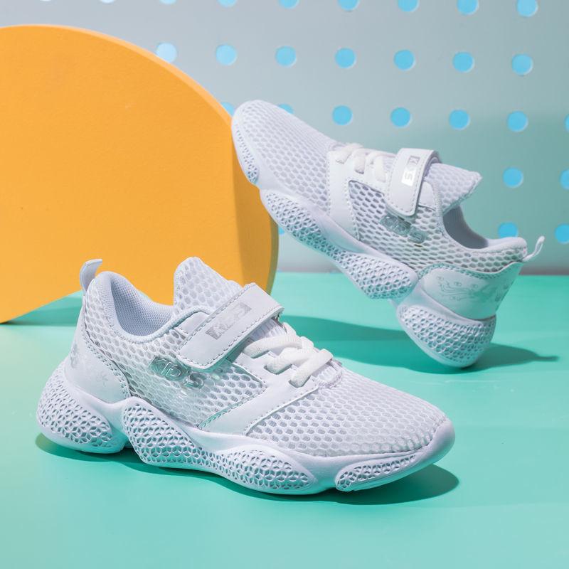 新款透气单网面中大童运动鞋小男孩儿童白鞋2021回力男童鞋子