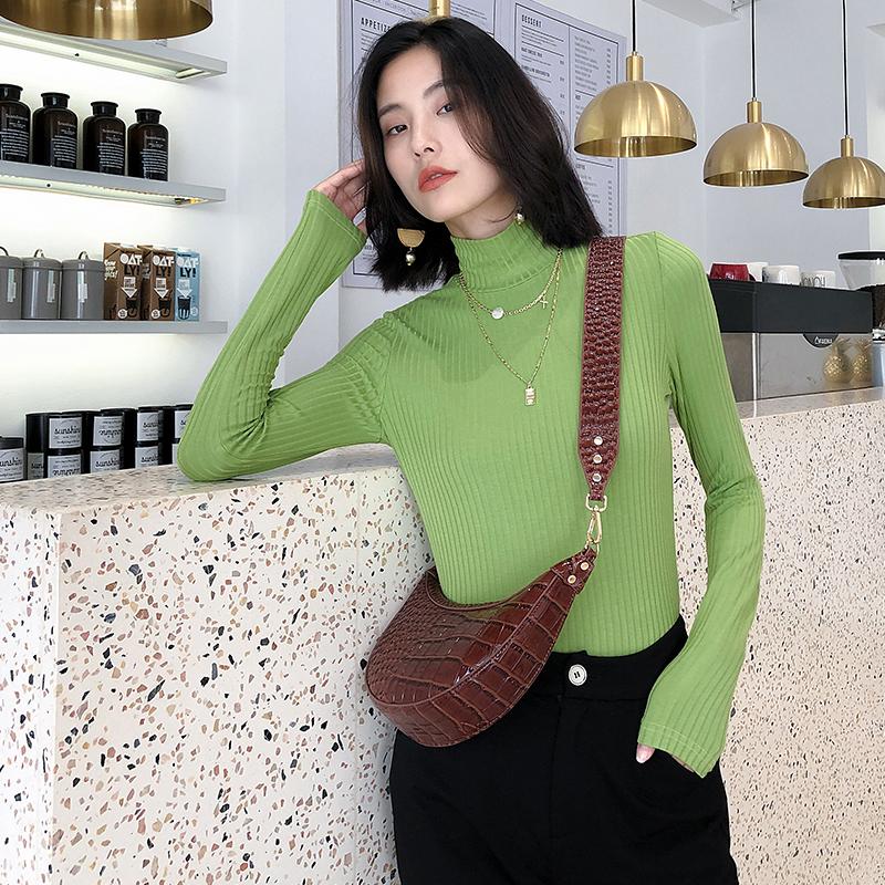 K家牛油果绿毛针织衫女2019秋新款百搭高领修身套头针织打底上衣