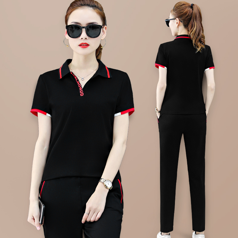 China Xiaoli quiet Lapel short sleeve casual sportswear set womens summer 2020 new loose slim