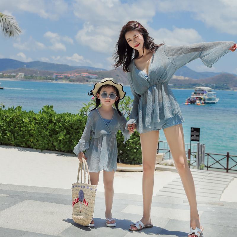 (用88元券)韩国ins风女仙女范雾霾蓝母女泳衣