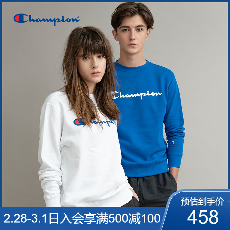 Champion official website flagship store official couple round neck sweater classic cursive print men's spring and autumn shirt