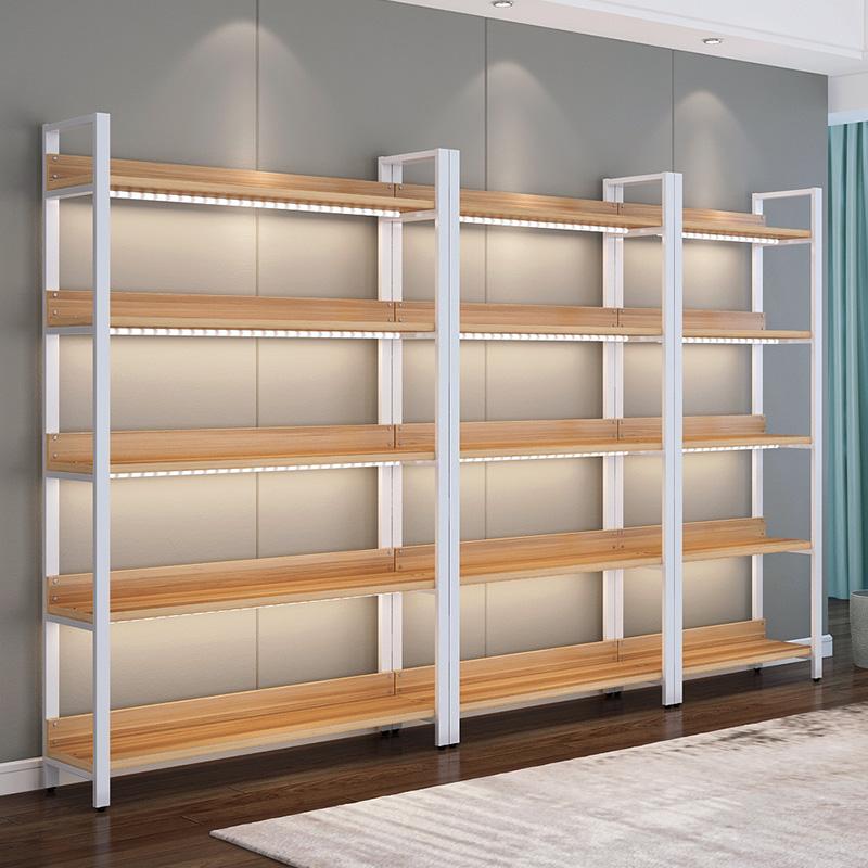 钢木书架家用客厅落地创意置物架卧室隔板储物架多层陈列柜展示架