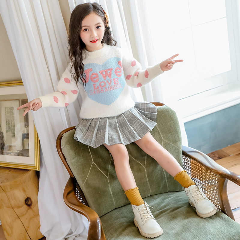 2021 girls U winter clothes 5 to 712 childrens cashmere sweaters 9 middle school children 10 little girls Knitted sweaters 11 winter