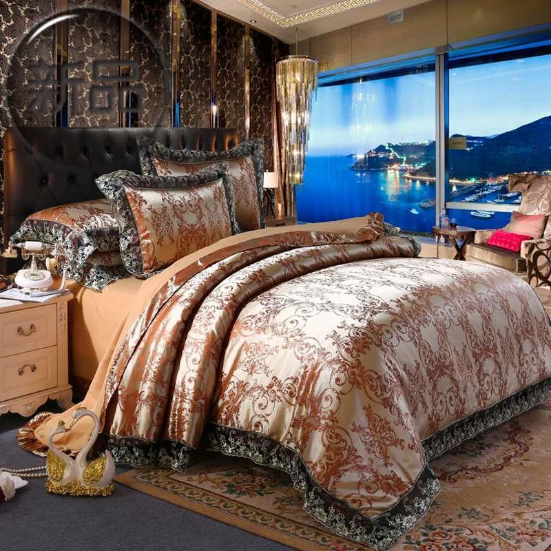 北欧风大提花婚庆床上用品四件套居家日用r单双人床上用品