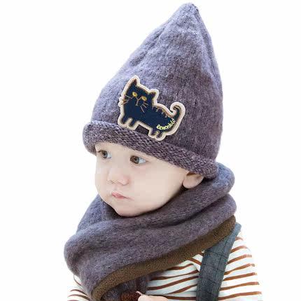 韩国宝宝帽子围巾两件套秋冬1-2-6岁韩版保暖男女小孩儿童帽子潮