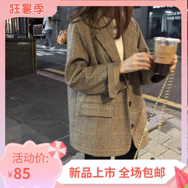 chic网红格子小西装外套女韩版2020春秋新款宽松气质英伦风西服潮