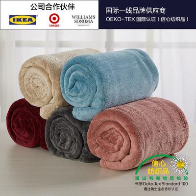 珊瑚绒毛毯四季百搭休闲通用毯子旅行毯办公室午睡空调毯子小被子