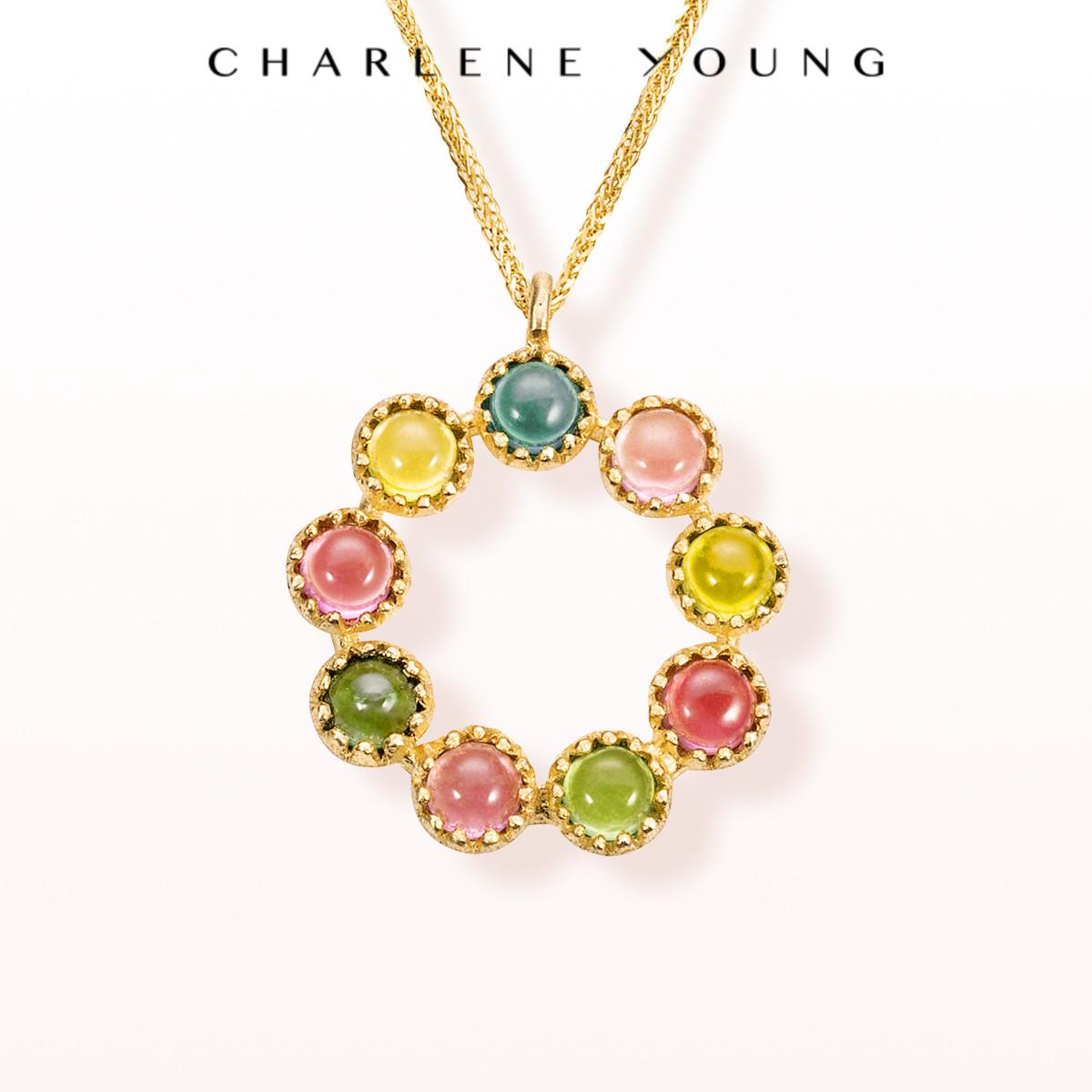轩灵珠宝首饰14k金小众设计轻奢项链网红女士转运珠碧玺彩虹吊坠