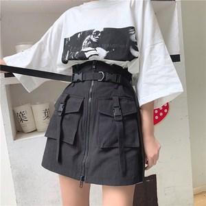 黑色工装夏季2021新款韩版半身裙