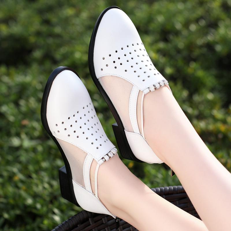 2021新款夏季女鞋包头凉鞋女真皮软底镂空网纱单鞋粗中跟凉皮鞋女
