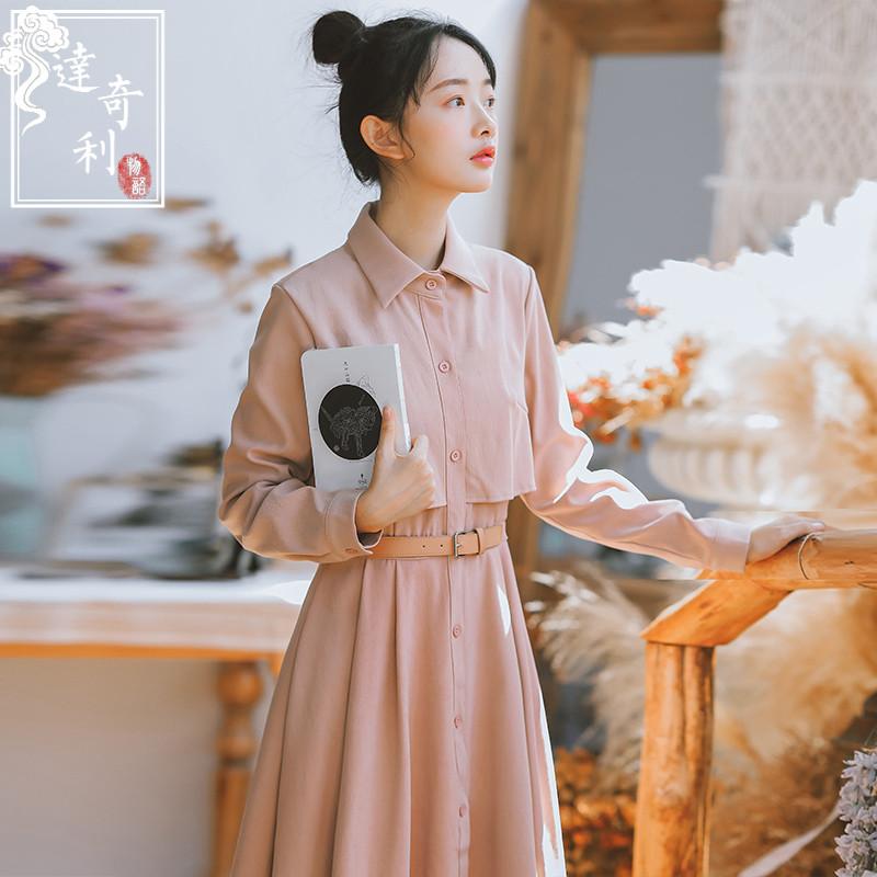(用119元券)秋装2019年新款智熏裙法式桔梗复古收腰显瘦气质长袖连衣裙长裙女