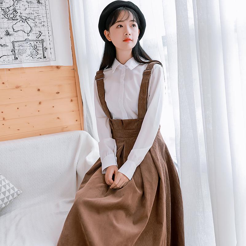 10-17新券2019新款韩版森女系学生秋冬背带裙
