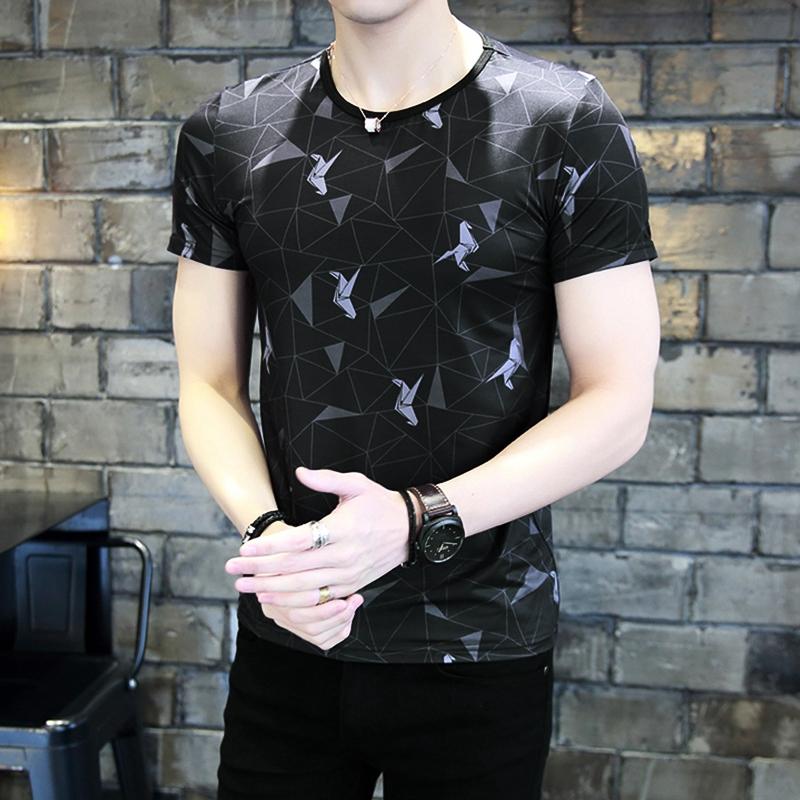 青年男短袖t恤冰丝滑料夏季欧洲站印花潮牌圆领体恤韩版修身潮流