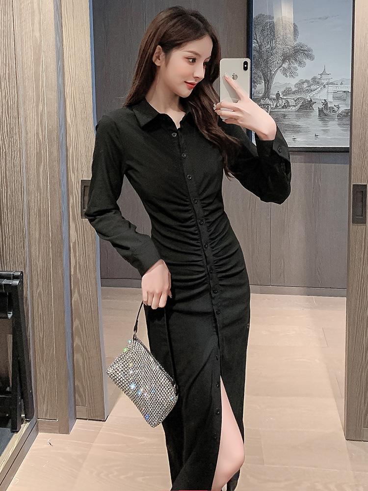 2021早秋新款polo领长袖修身开叉包臀黑色衬衫裙气质蚂蚁腰连衣裙