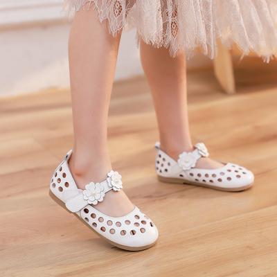 女童凉鞋2020新款真皮时尚夏季公主中大童小孩白色包头软底儿童鞋