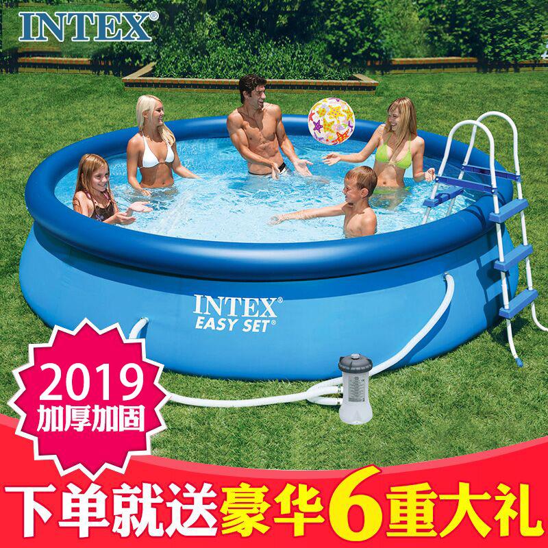 10-27新券INTEX充气游泳池儿童家用加厚小孩超大型室内家庭戏水池大人户外