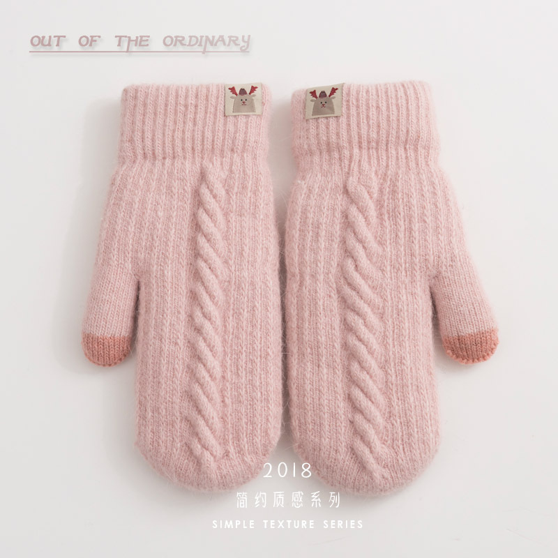 Gloves female winter lovely Plush Korean version rabbit hair thickened winter warm neck cotton cycling wool