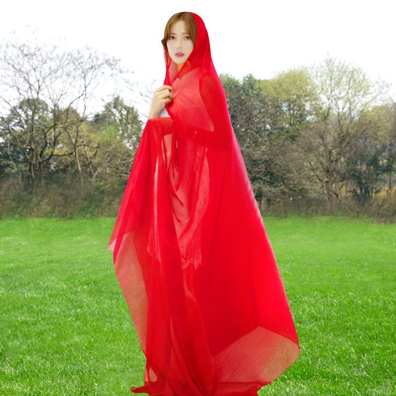 Solid color silk scarf, autumn style, foreign style, all-around scarf, womens spring autumn thin long winter super large red cape