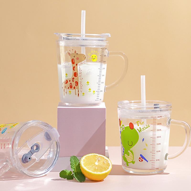 玻璃杯家用儿童水杯吸管杯子可爱饮料杯刻度牛奶早餐咖啡杯带把手