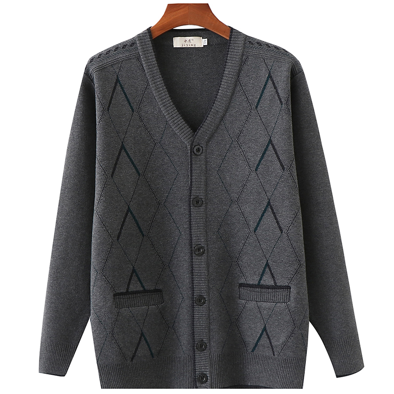 Diamond Long Sleeve middle aged and old men's sweater coat thickened spring and winter V-neck old man's father's cardigan
