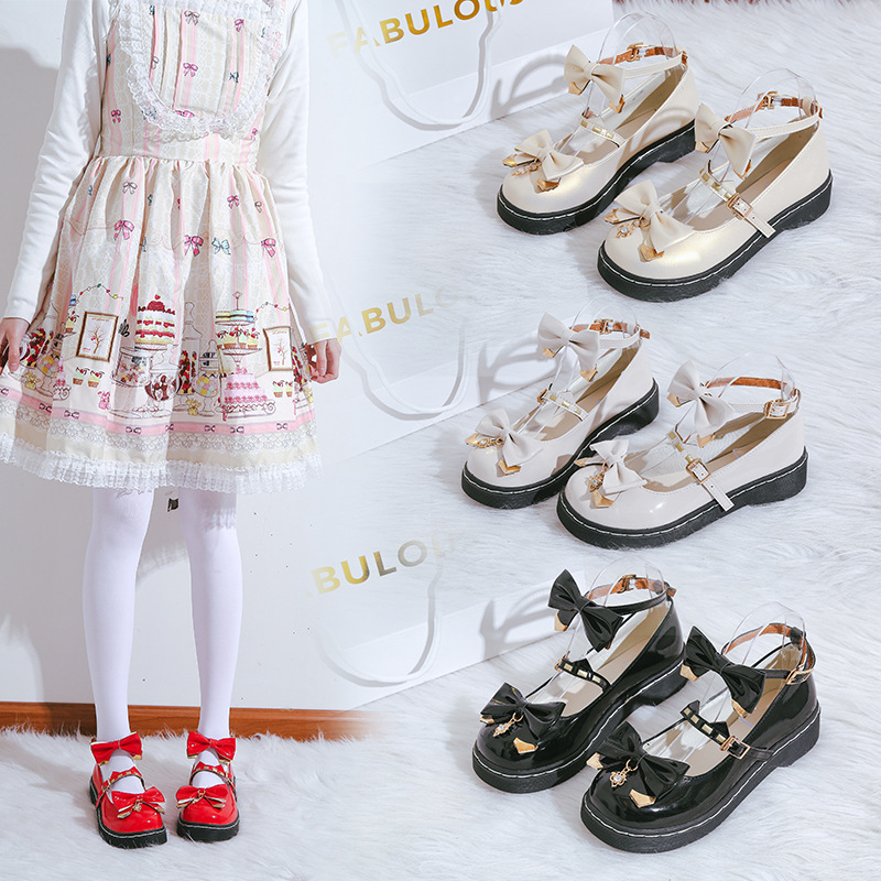 Original Lolita shoes fruit bubble sweetheart round head student single shoes Lolita JK uniform small shoes for women in stock
