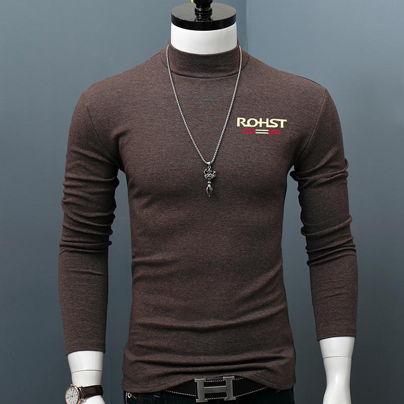 秋季纯棉中领男修身长袖t恤打底衫