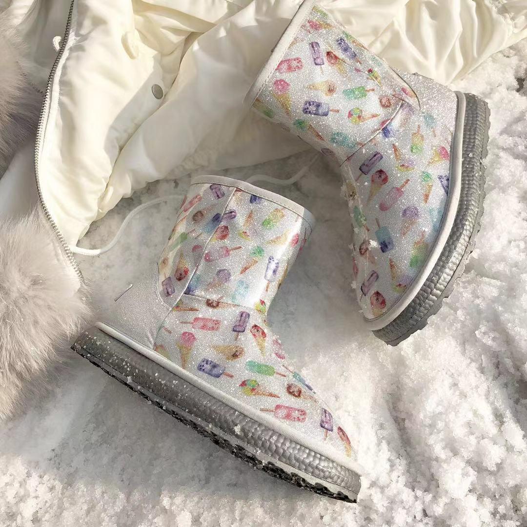 皮毛一体の雪中ブーツ秋冬ショートブーツ防水白いアイスクリームのブーツ滑り止め可?くて柔らかい萌えブーツのビロード