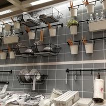 黑色免打孔廚房掛鉤壁掛強力粘膠菜板鉤活動排鉤廚房勺子鏟子掛架