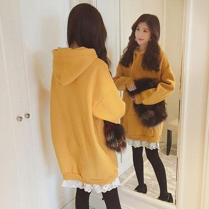 卫衣韩版加绒加厚中长款宽松假两件卫衣裙女连帽蕾丝套头秋冬外套