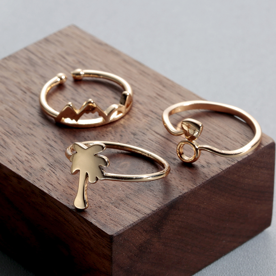 Chereda fashion korean love ring love coconut multi element three combination set ring joint ring