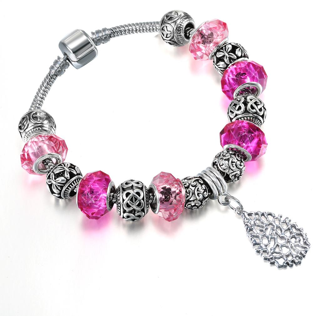 Chereda European and American style jewelry DIY womens bracelet Coral Pendant snake chain beaded glass bracelet