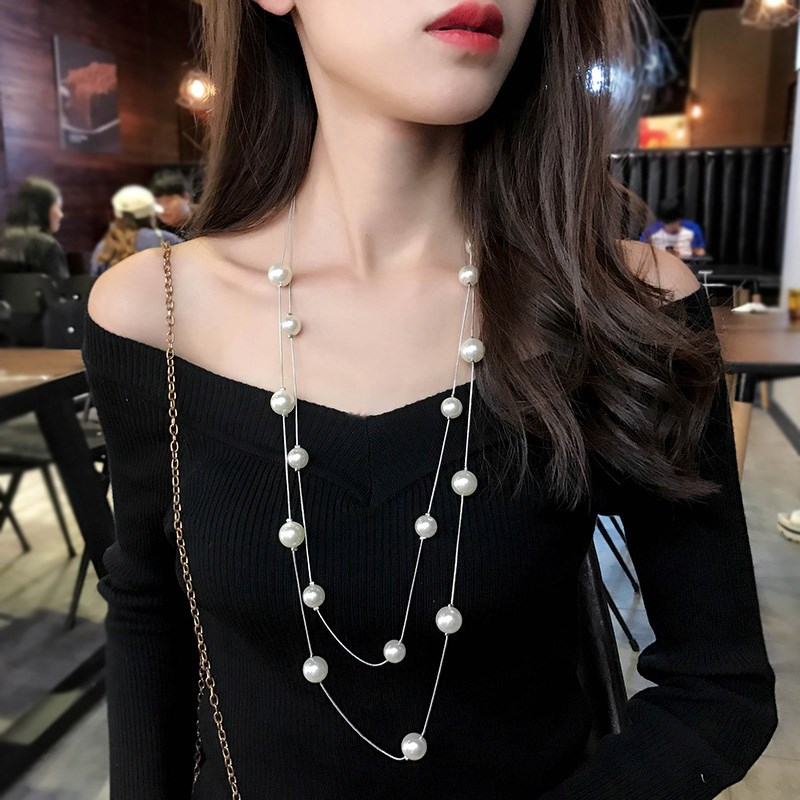 Multi layer pearl sweater chain, womens long style, mix and match, autumn and winter, Korean personality, simple sweater, pendant, necklace, decoration and accessories