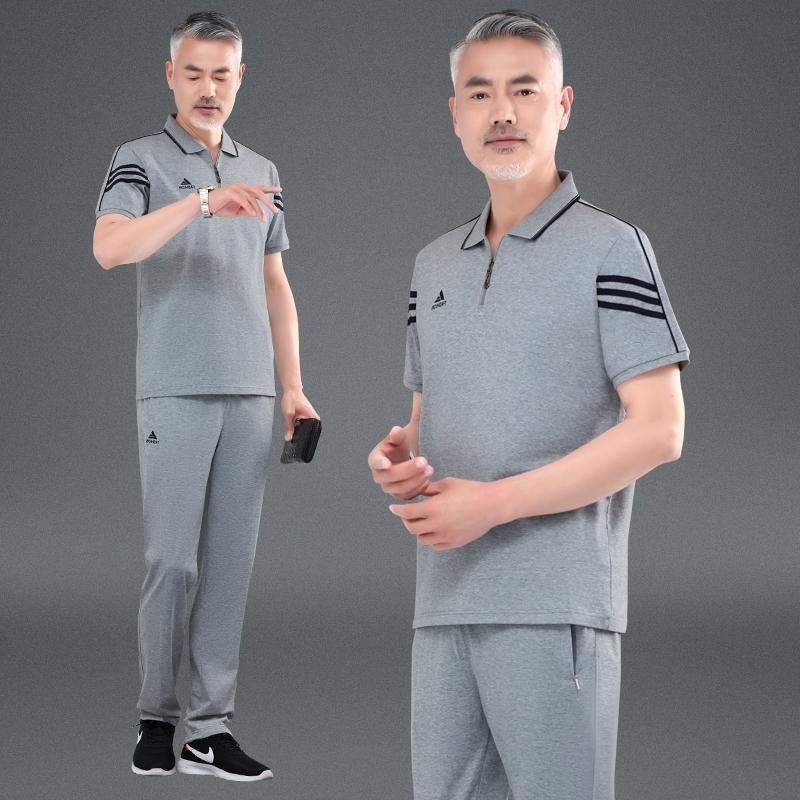 European station fashion brand father summer T-shirt short sleeve Lapel middle aged summer mens suit large width