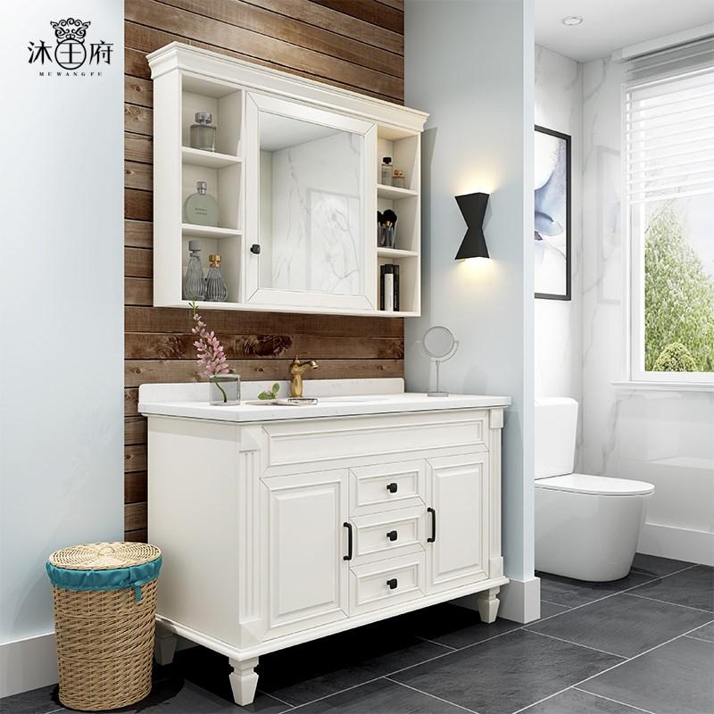 美式组合大理石卫生间落地式浴室柜有赠品
