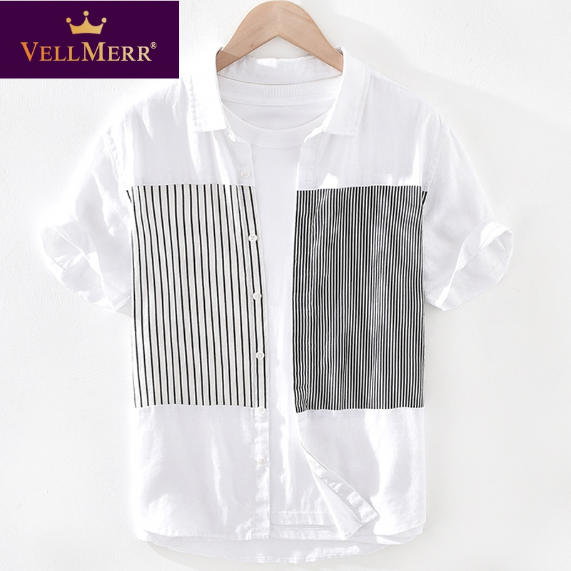 Linen short sleeve T-shirt with collar cotton linen upper garment mens color matching stripe shirt collar T-shirt hy0924