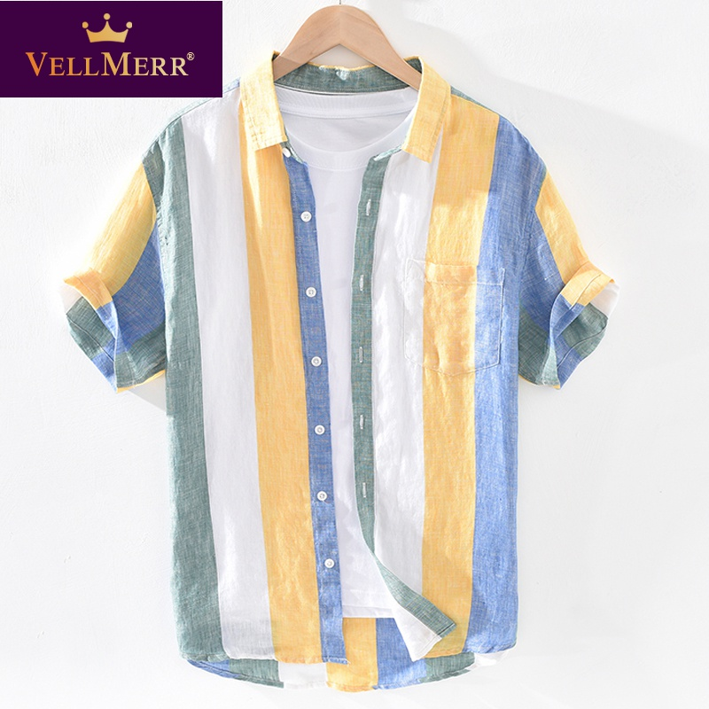 Linen short sleeve shirt collar T-shirt cool top color matching stripe led T-shirt hy0924
